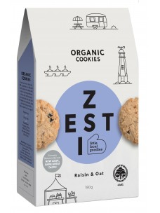 Zesti Org Raisin & Oat  Cookies 180g Box
